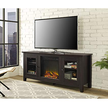 Black Fireplace TV Stand